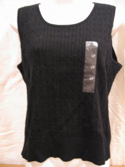Brand New black casual essentials sleeveless Women's TOP from LIZ CLAIBORNE, size PL