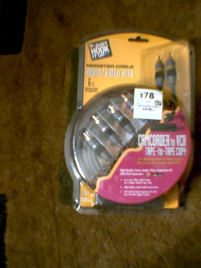 *NEW* Monster Cable Camcorder to VCR Tape-to-Tape Copy 6Ft