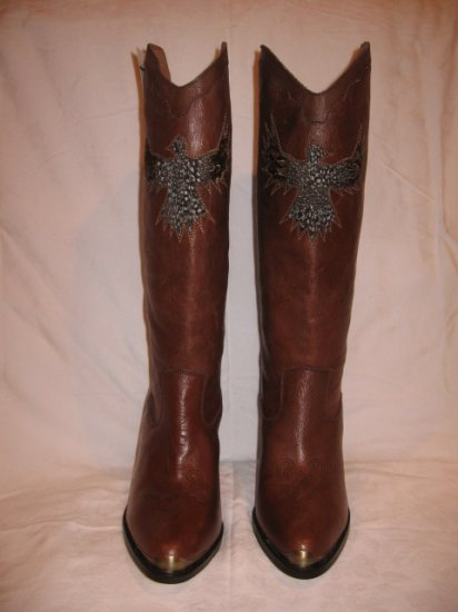 $225 Sam Edelman Brown Cowgirl Boots, Size 9M