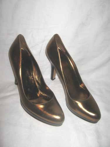 $510 New in Box Authentic GUCCI Women PLATFORM HEEL PUMPS BRONZE SHOES sz 11
