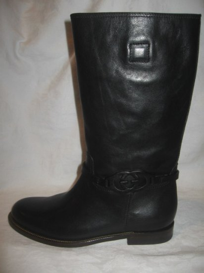 New in Box  Authentic GUCCI MEN BOOTS LOGO BLACK Shoes size 39 1/2 / 7 1/2  7.5  WIDE.