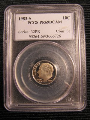 1983-S Roosevelt Dime Deep Cameo Proof PR-69 PCGS NICE!