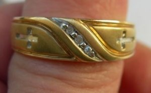 3 Men's Gold and Diamond Rings-SALE