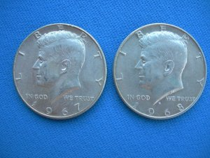 Kennedy Silver Half Dollars-1967,1968
