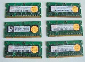 Lot of 6 512MB PC4200 Ram Laptop -FREE SHIPPING