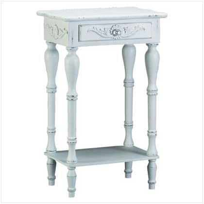 New Shabby Elegance Carved White Side Table