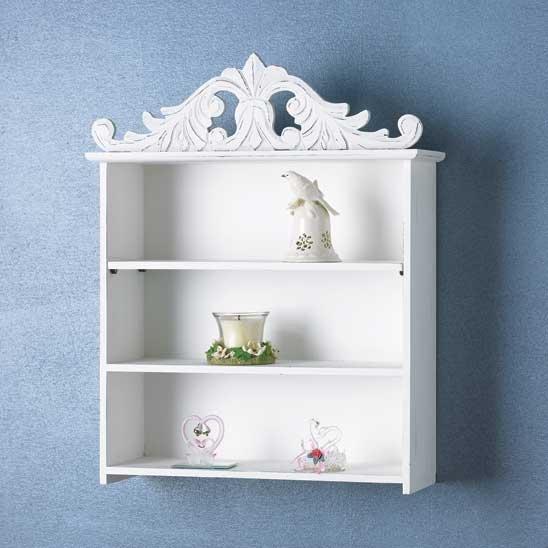 New Shabby Elegance Crowned Keepsake Shelf White