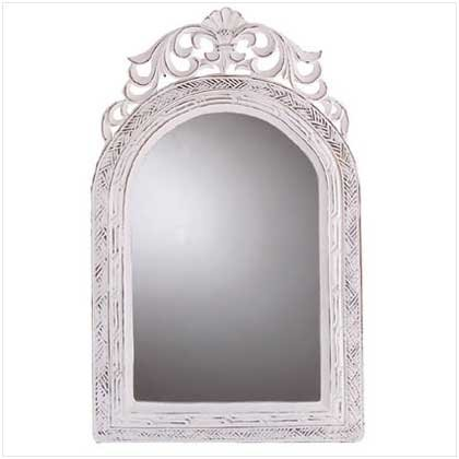 New Shabby Elegance Arched -Top Wall Mirror White