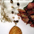 N0031 - NECKLACE WITH BROWN TIGER EYE BEADS  (FREE EARRINGS)