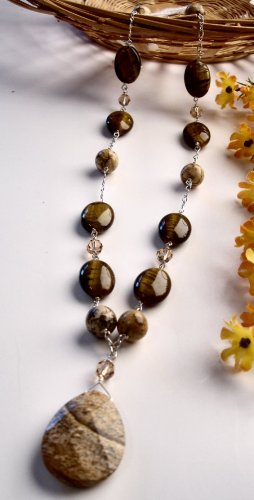 N0549 - NECKLACE WITH NATURAL BROWN TIGER EYE BEADS AND JASPER BEADS  - SWAROVSKI CRYSTAL
