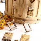 N0540 - NECKLACE WITH FLAT RECTANGULAR  CREAM AND BROWN JASPER WITH BROWN SHELL (FREE EARRINGS)