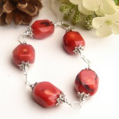B004 - BRACELET 8 INCH WIHT ADJUSTABLE  NATURAL RED CORRAL BEADS (FREE SHIPPING)(SELL NATALIA)