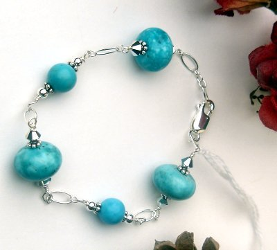 B001 - BRACELET WITH AUTHENTIC BLUE TURQUOISE WITH SWAROVSKI CRYSTAL (FREE SHIPPING) (SOLD)