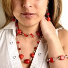 N0614 - NECKLACE WITH NATURAL RED CORAL AND SWAROVSKI CRYSTAL (FREE EARRINGS)
