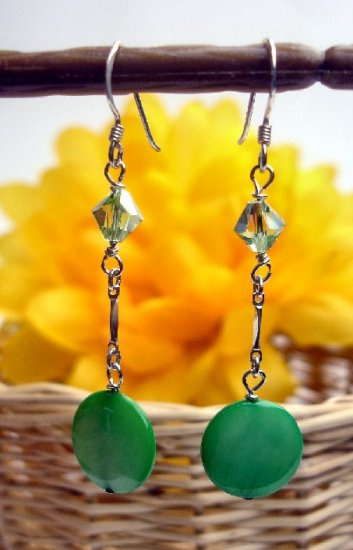 E0021 - EARRINGS WITH GREEN SHELL AND SWAROVSKI CRYSTAL (FREE SHIPPING)