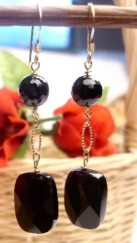 E0028 - EARRINGS WITH BLACK ONYX (FREE SHIPPING)