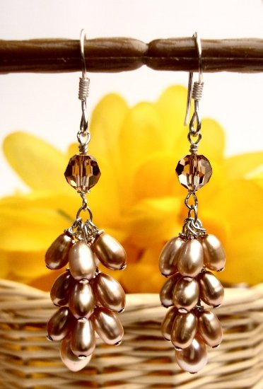 N0001 - EARRINGS WITH BEIGE FRESH WATER PEARLS (FREE SHIPPING)