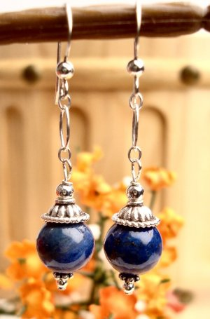 E0032 - EARRINGS WITH NATURAL LAPIS LAZULI BEADS (FREE SHIPPING)