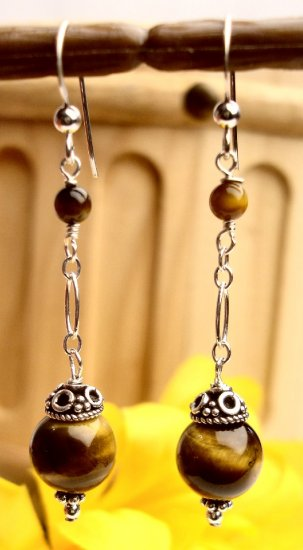 E0029 - EARRINGS WITH NATURAL TIGER EYE BEADS (FREE SHIPPING)
