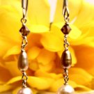 E0027 - EARRINGS WITH BEAUTIFUL FRESHWATER PEARLS AND SWAROVSKI CRYSTAL (FREE SHIPPING)