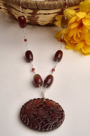 N06524 - NECKLACE WITH BROWN AVENTURINE - RED CARNELIN BEADS (FREE EARRINGS)