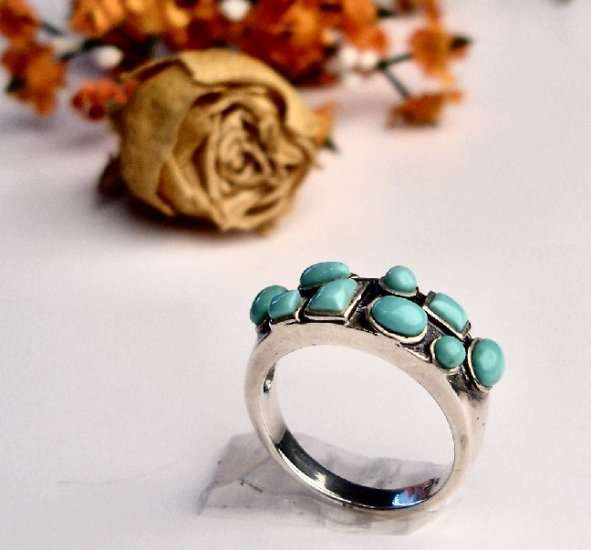 R0001 -  RINGS WITH NATURAL BLUE TURQUOISE (FREE SHIPPING)