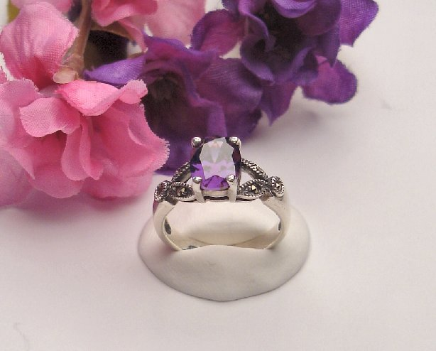R0012 - RING WITH AMETHYST CZ (FREE SHIPPING)