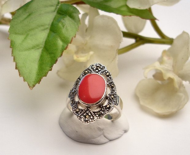 R0014 - RINGS WITH NATURAL RED CORAL / FILIGREE DESIGNED (FREE SHIPPING)