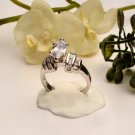 R0023 - RING WITH CLEAR CUBIC ZIRCONIA / BAGUETTES (FREE SHIPPING)