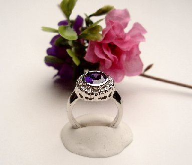R0064 - RING WITH PURPLE AMETHYST CUBIC ZIRCONIA (FREE SHIPPING)