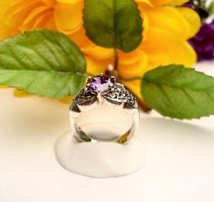 R0075 - RING PURPLE AMETHYST CUBIC ZIRCONIA (FREE SHIPPING)