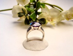 R0066 - RING WITH PURPLE AMETHYST CUBIC ZIRCONIA (FREE SHIPPING)