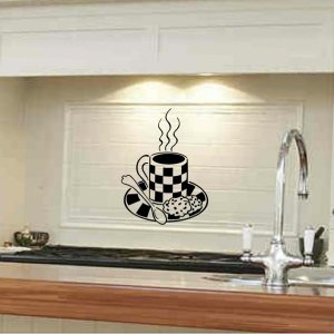 Kitchen wall decal sticker coffee cup with cookies