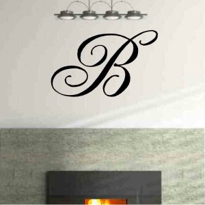 Single letter monogram vinyl wall decal home living room entryway wall decor