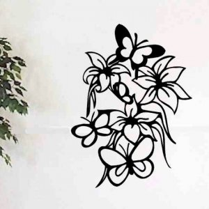 floral wall decal hibiscus flowers and butterflies vinyl wall decor