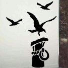 nautical wall decal 3 sea gulls with a dock piling wall decor