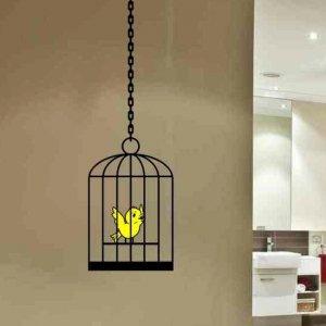 Bird Cage wall decal with cute little bird inside home decor living room bathroom