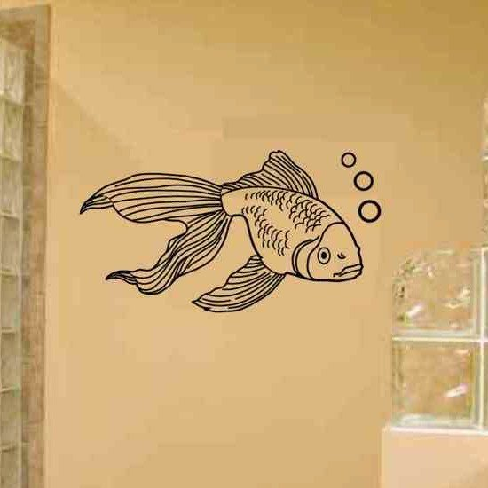 gold fish wall decal great bathroom wall decor. Black Bedroom Furniture Sets. Home Design Ideas