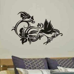 vinyl wall decal abstract  decor Humming bird with flowers