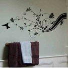 Abstract tree branch wall decal with hummingbird home wall decor