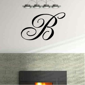 Single letter monogram vinyl wall decal home living room