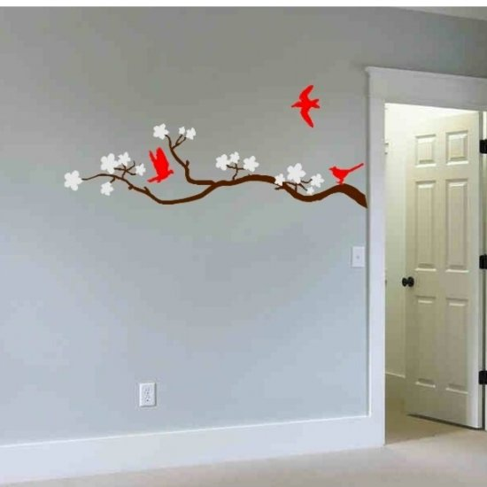 wall decal cherry blossom tree branch with 3 birds
