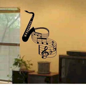wall decal Saxophone with musical notes music room wall decor