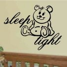 wall quote decal sticker sleep tight with teddy bear boy girl toddler bed room