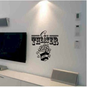 wall quote sticker decal Our Theater with popcorn box living room home theater