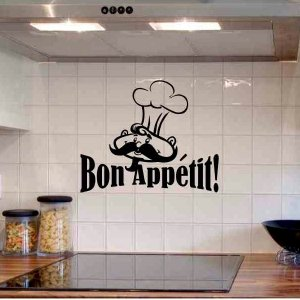 wall quote sticker decal Bon Appetit with chef kitchen wall decor
