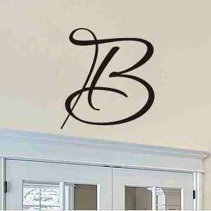 single letter script monogram wall sticker decal family room decor