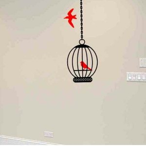 wall sticker decal bird cage with birds master bed room wall decor