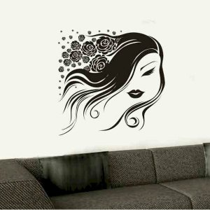 modern art wall sticker decal woman with roses in her hair