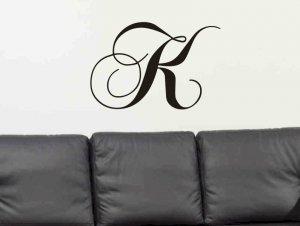 vinyl wall decal sticker single letter monogram living room, family room wall decor